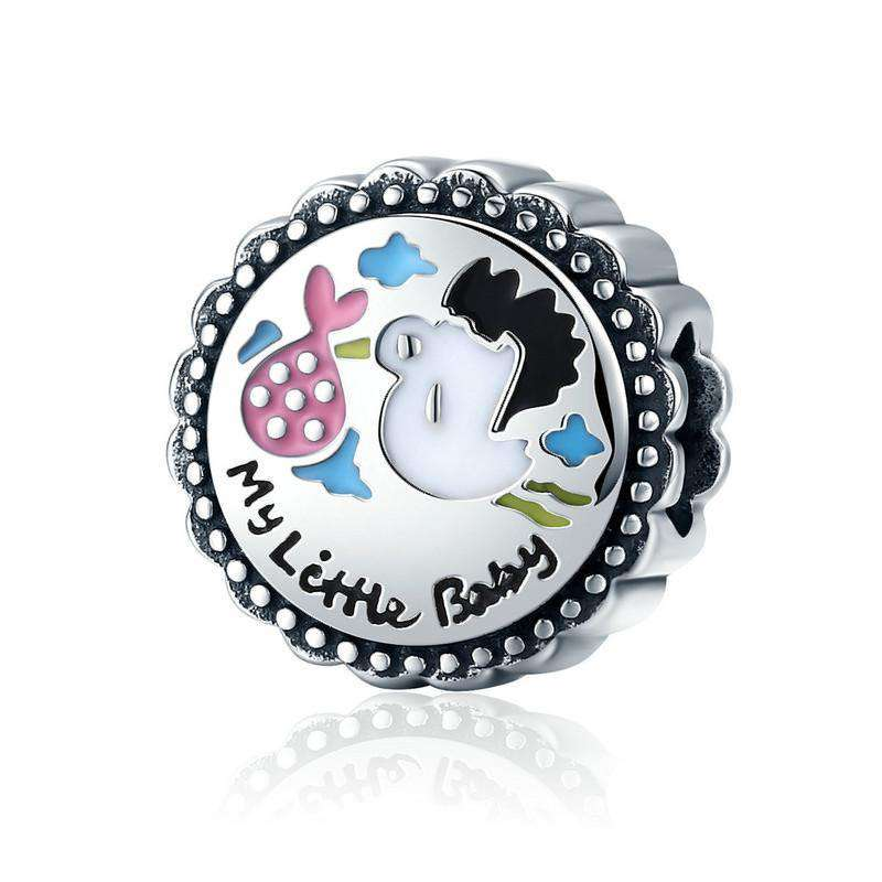 Pandora Compatible 925 sterling silver Little Baby Stork Enamel round Charm From CharmSA Image 1