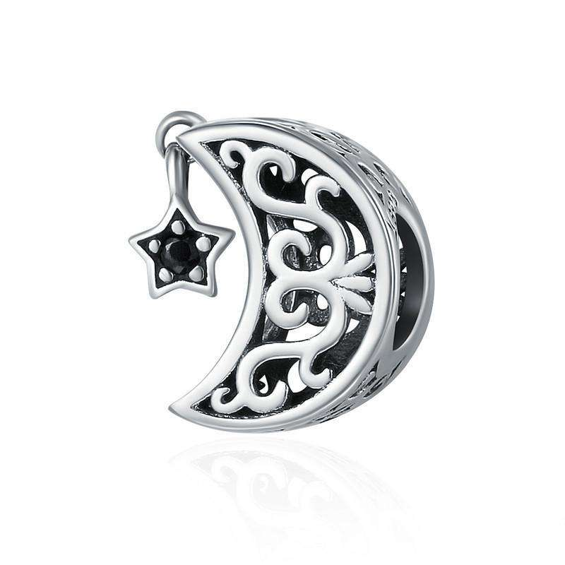 Pandora Compatible 925 sterling silver Openwork Moon and Star Charm From CharmSA Image 1