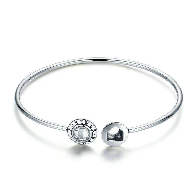 Family Forever Clear CZ Geocentric Cuff Bangle
