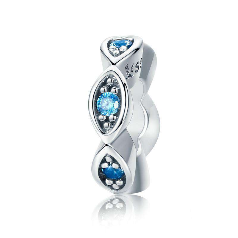 Pandora Compatible 925 sterling silver Lucky Blue Eye Glittering CZ Spacer From CharmSA Image 1