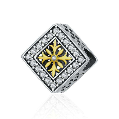 Square Fashion Snowflake CZ Charm