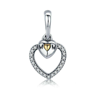Mother's Gift Mom in Heart CZ Charm