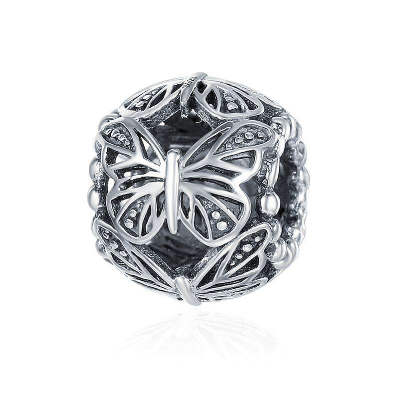 Pandora Compatible 925 sterling silver Stackable Butterfly Round Charm From CharmSA Image 1