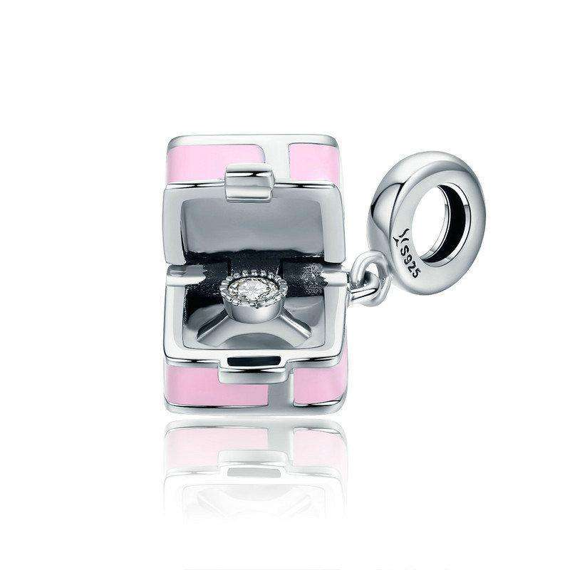 Pandora Compatible 925 sterling silver Romantic Pink Box Marry Me Surprise Charm From CharmSA Image 1