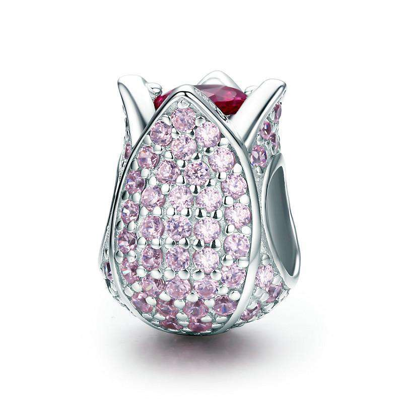 Pandora Compatible 925 sterling silver Tulip Flower Petals Pink CZ Charm From CharmSA Image 1