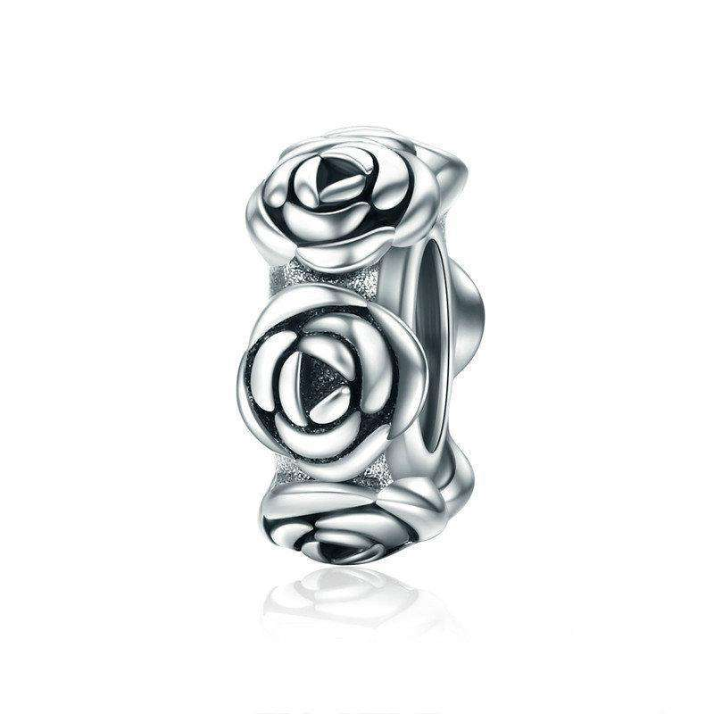 Pandora Compatible 925 sterling silver Romantic Stackable Rose Flower Charm From CharmSA Image 1