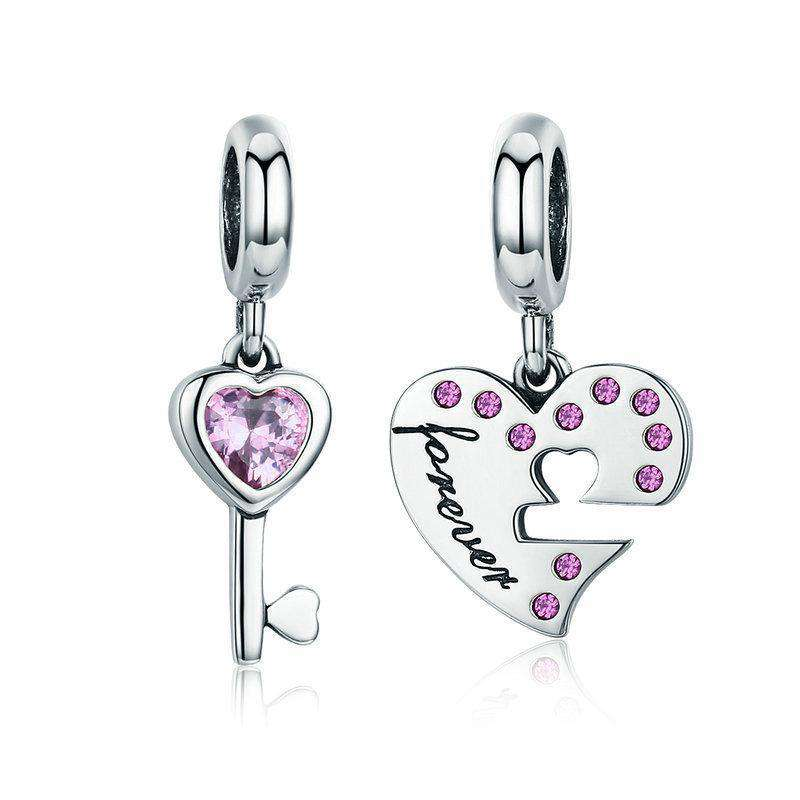 Pandora Compatible 925 sterling silver Lock Key of Heart Pink CZ Charm From CharmSA Image 1