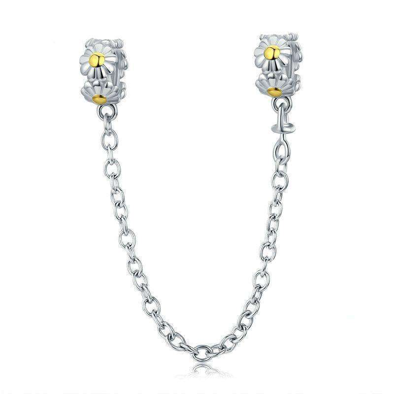 Pandora Compatible 925 sterling silver Stackable Daisy Flower Safety Chain Charm From CharmSA Image 1
