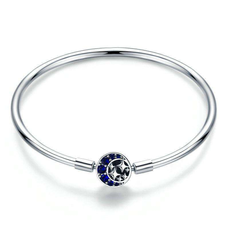Blue CZ Moon and Star Bangle From CharmSA Image 1