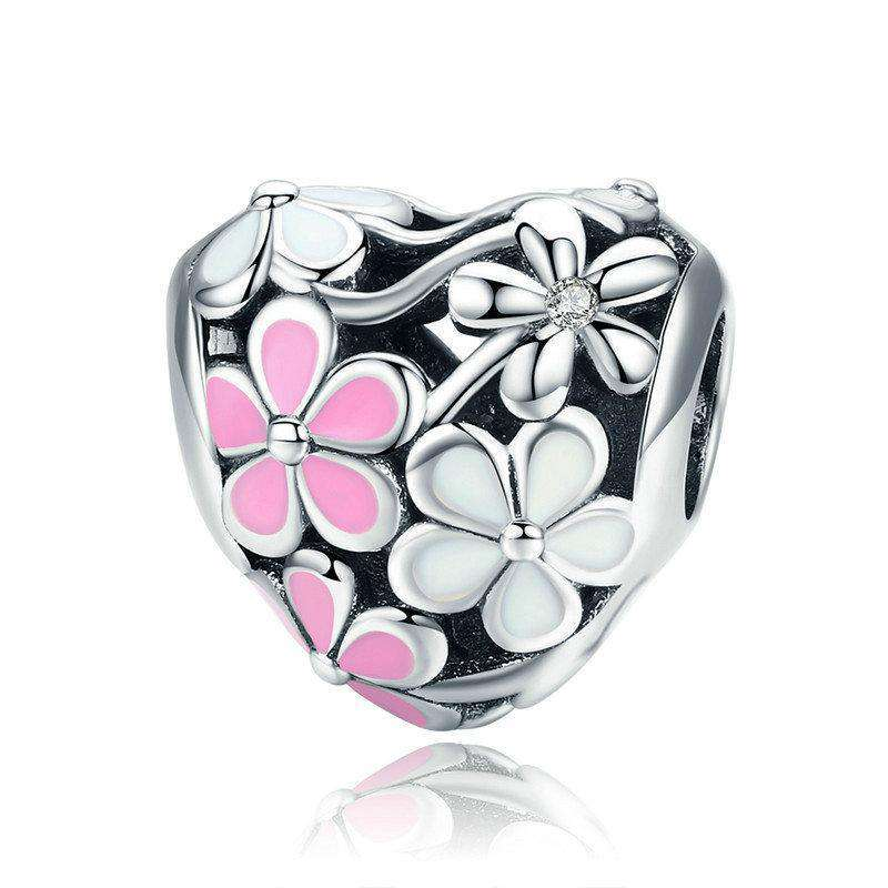 Pandora Compatible 925 sterling silver Spring Pink & White Daisy Flower Charm From CharmSA Image 1