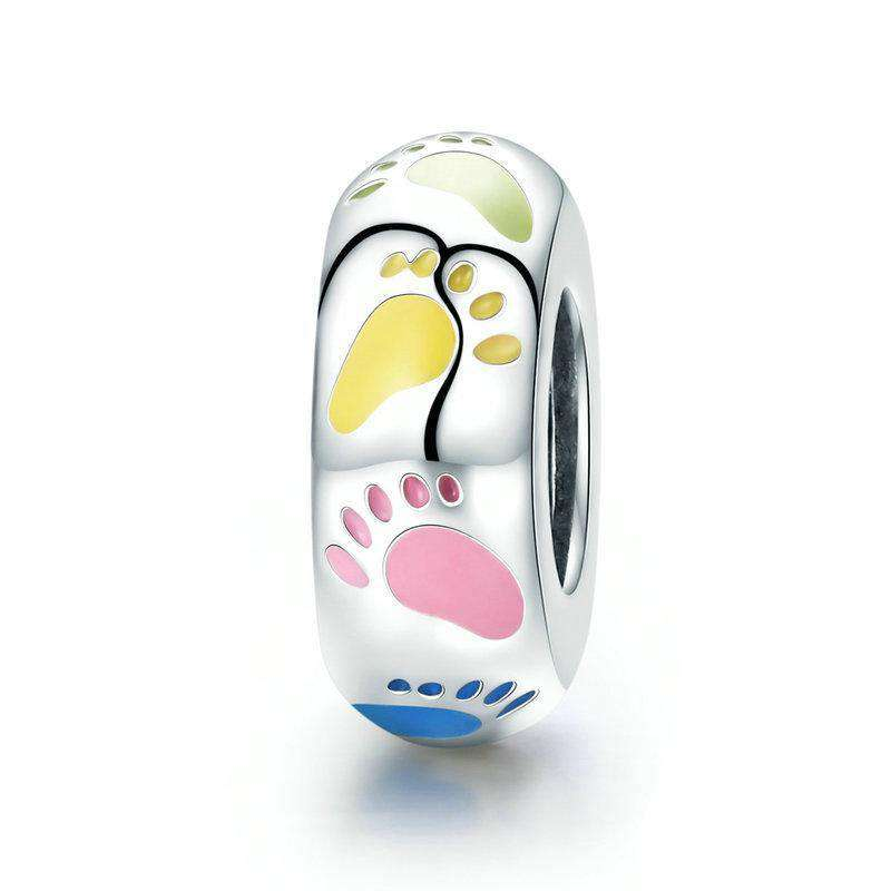Pandora Compatible 925 sterling silver Colourful Little Footprints Charm From CharmSA Image 1