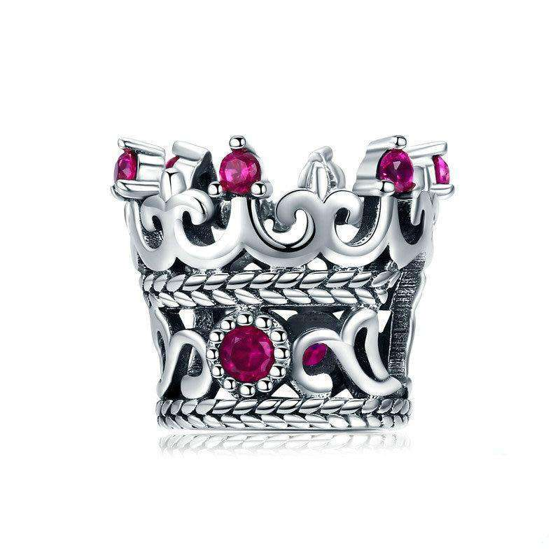 Queen's Crown Pink CZ Charm