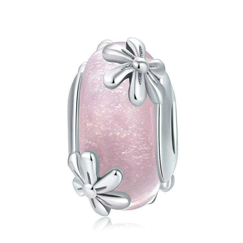 Pandora Compatible 925 sterling silver Spring Flowers Pink Murano Glass Charm From CharmSA Image 1