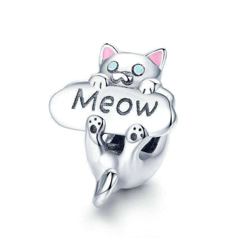 Pandora Compatible 925 sterling silver Naughty Cat Meow Animal Charm From CharmSA Image 1