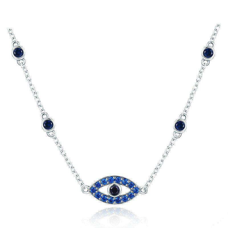 Guardian Lucky Blue Eye CZ Chain Pendant Necklace