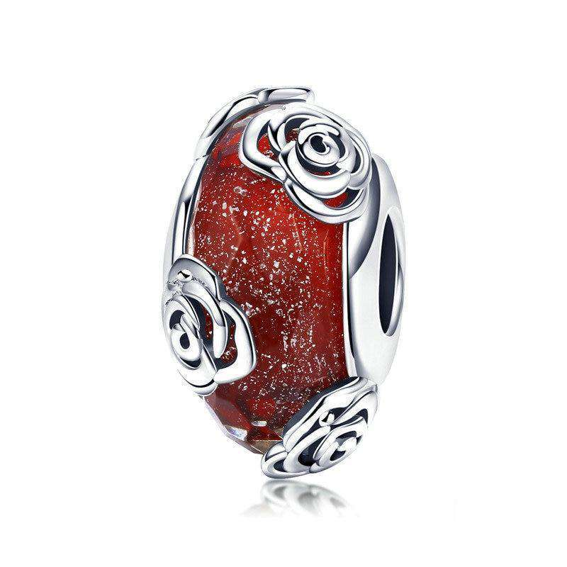 Pandora Compatible 925 sterling silver Rose Flower European Glass Charm From CharmSA Image 1