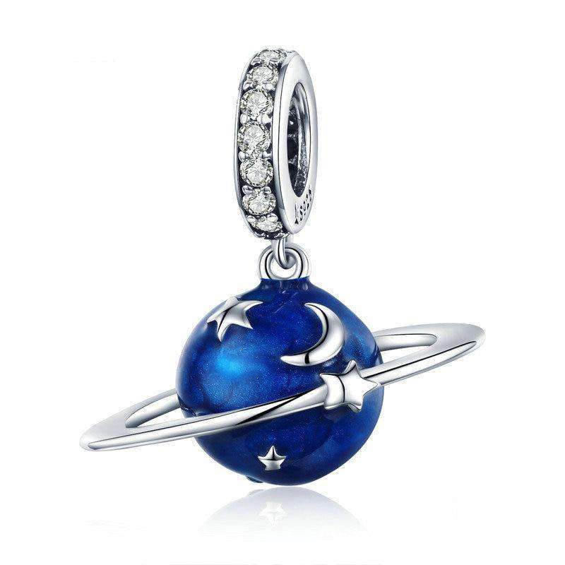Pandora Compatible 925 sterling silver Secret Planet Moon Star Blue Enamel Charm From CharmSA Image 1