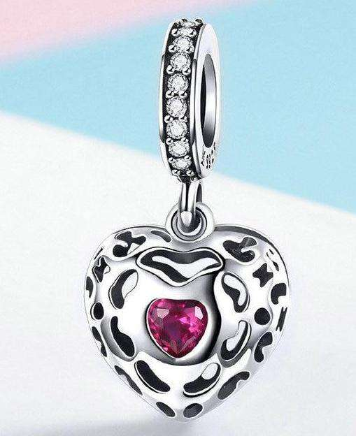 Happiness Heart Pink CZ Charm
