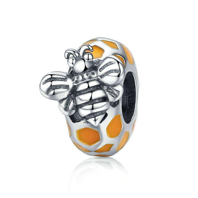 Pandora Compatible 925 sterling silver Honeycomb & Bee Spacer From CharmSA Image 1
