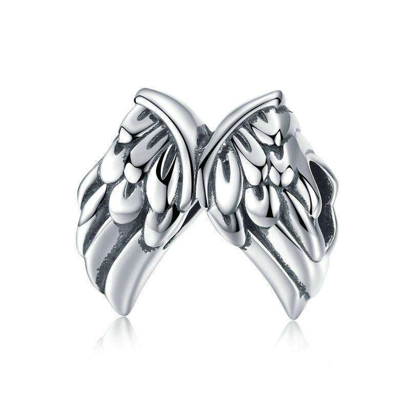 Pandora Compatible 925 sterling silver Vintage Angel Wings Feathers Charm From CharmSA Image 1