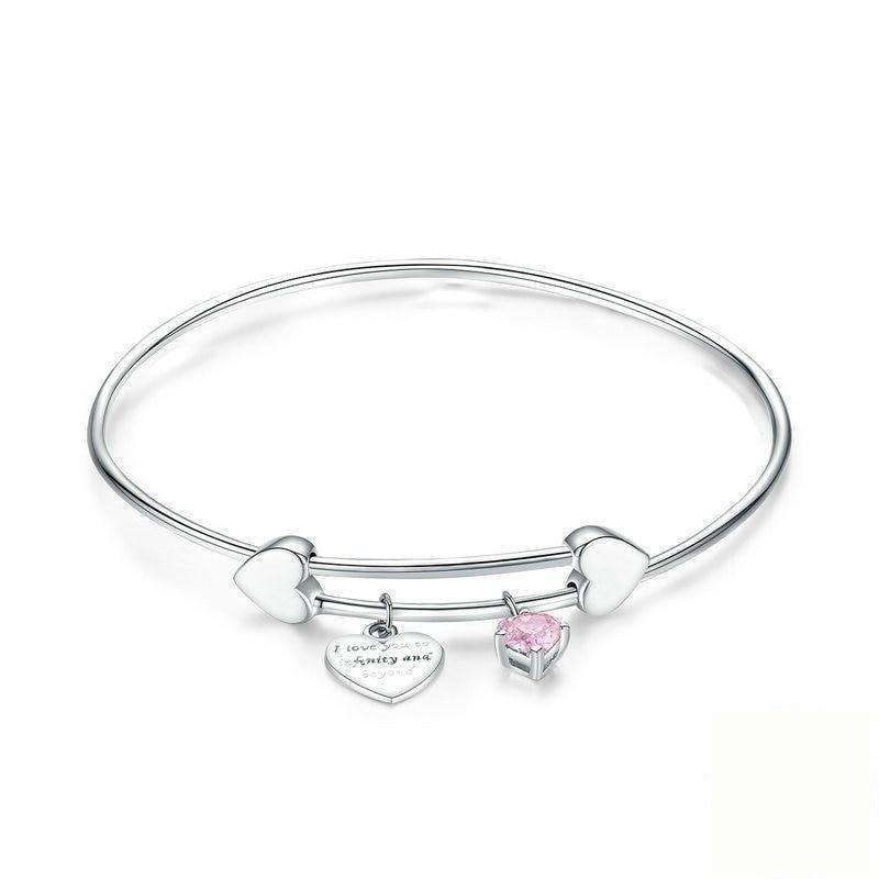 I Love You Love Heart Silver Bangle