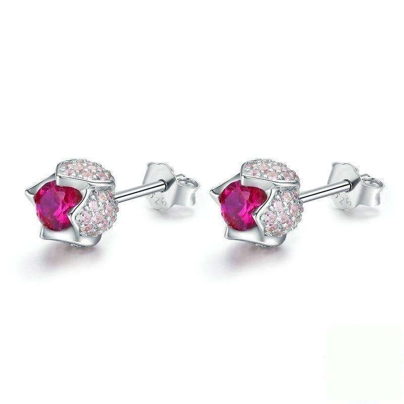 Tulip Flower Buds Pink CZ Stud Earrings