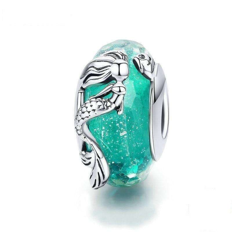 Pandora Compatible 925 sterling silver Mermaid Sea Blue Glass Charm From CharmSA Image 1