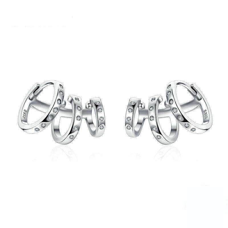 Triple Circle Clip Earrings