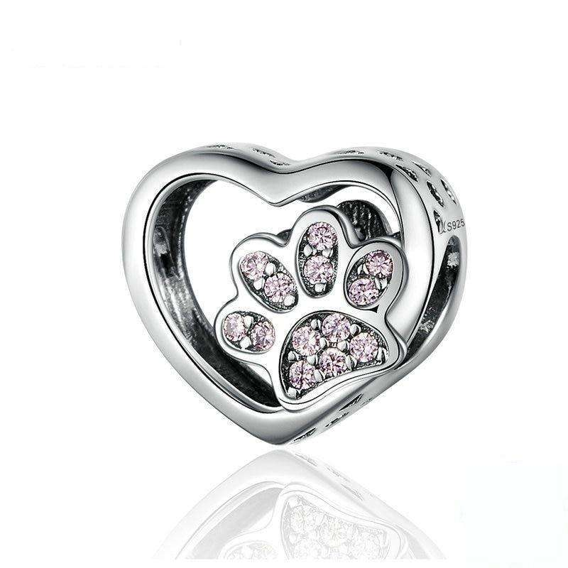 Pandora Compatible 925 sterling silver Cat Love Heart-shape Footprints Charm From CharmSA Image 1