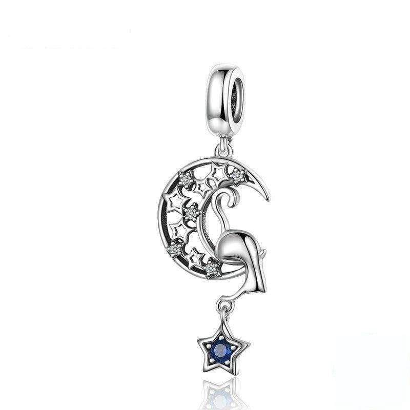 Pandora Compatible 925 sterling silver New Vintage Moon and Star Cat Dangle Charm From CharmSA Image 1