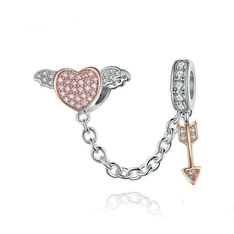 Arrow of Cupid Heart Wing charm
