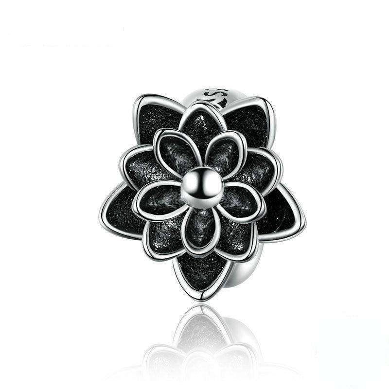 Pandora Compatible 925 sterling silver Black Flower Lotus Charm From CharmSA Image 1