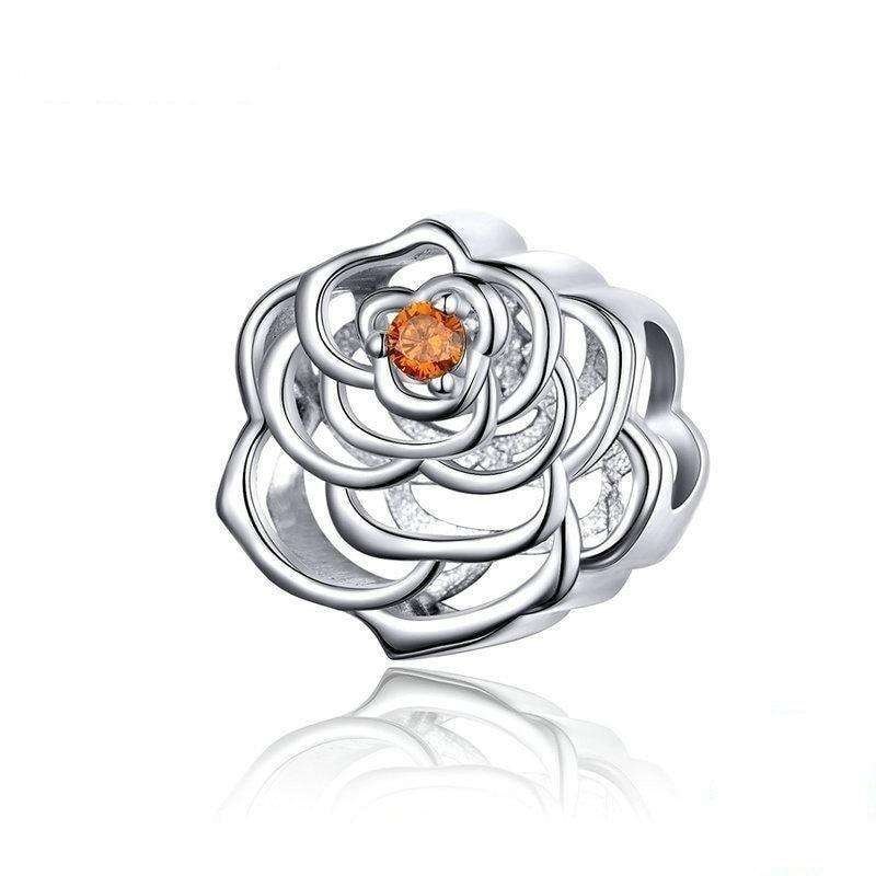 Pandora Compatible 925 sterling silver Rose Silver Openwork Charm From CharmSA Image 1