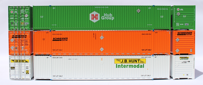53' Containers - N scale. HIGH CUBE 8-55-8 corrugated side containers with Magnetic system, and IBC pins.