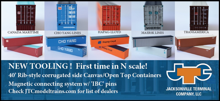 40' Rib-side Canvas / open top containers - First Time in N Scale