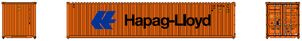 "HAPAG LlOYD (lg logo)- JTC # 405314 40' Standard height (8.6"") corrugated side steel containers"