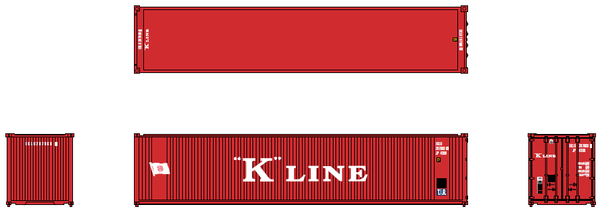K-LINE (early) 40' Std. Height 2-P-44-P-2 'Square Corrugated' side containers JTC # 405558