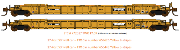 772017 TWO PACK- DTTX NSC 53' well cars . Class NWF13 - 17 Post versions