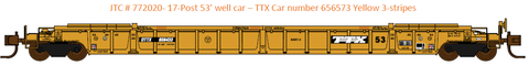 772020- DTTX NSC 53' well car. Class NWF13 - 17 Post version - 3 Yellow conspecuity stripes