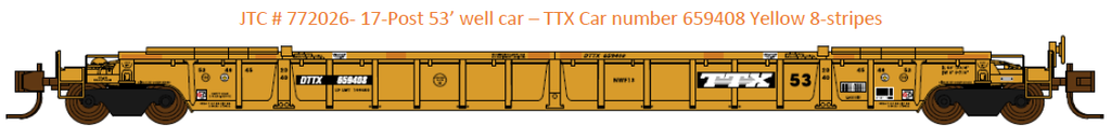 772026- DTTX NSC 53' well car. Class NWF13 - 17 Post version - 8 conspecuity stripes