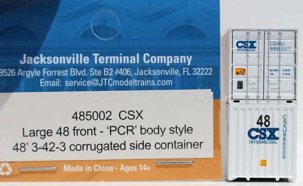 CSX INTERMODAL 48' HC (Lg 48 on front) 3-42-3 corrugated containers with Magnetic system. JTC # 485002
