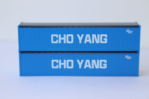 CHO YANG 40' Canvas/Open top container, 'Rib-style' corrugated sides. 1:160 N scale