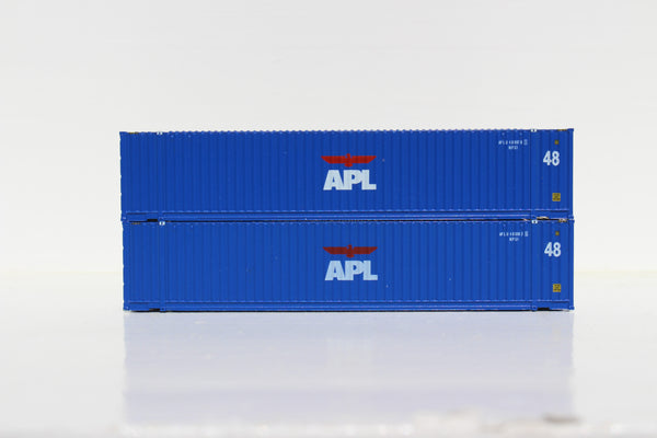 APL 48' HC 3-42-3 corrugated containers with Magnetic system, FIRST TIME IN N SCALE. JTC # 485001