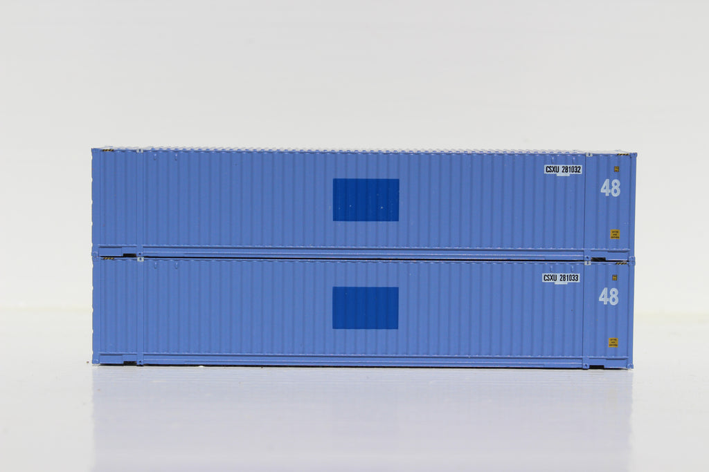 CSXU 48' HC (patch) 3-42-3 corrugated containers with Magnetic system. FIRST TIME IN N SCALE. JTC # 485005