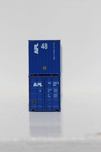 APL 48' HC (vertical logo) 3-42-3 corrugated containers with Magnetic system, FIRST TIME IN N SCALE. JTC # 485008