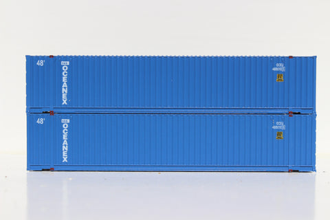 OCEANEX 48' HC 3-42-3 corrugated containers with Magnetic system, FIRST TIME IN N SCALE. JTC # 485013