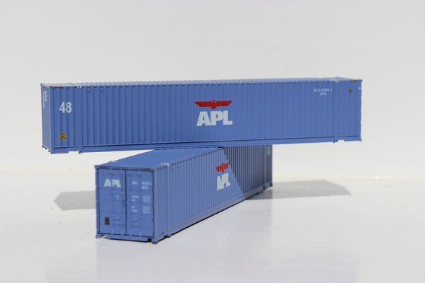 APL (faded paint) 48' HC 3-42-3 corrugated containers with Magnetic system, FIRST TIME IN N SCALE. JTC # 485014