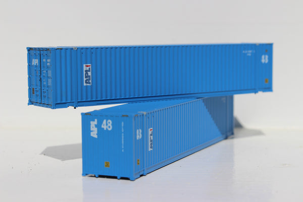 APL 48' HC (vertical logo, faded paint) 3-42-3 corrugated containers with Magnetic system, FIRST TIME IN N SCALE. JTC # 485015