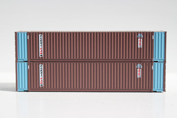 CSXU 48' HC (Flexi-Van patch) 3-42-3 corrugated containers with Magnetic system, FIRST TIME IN N SCALE. JTC # 485011