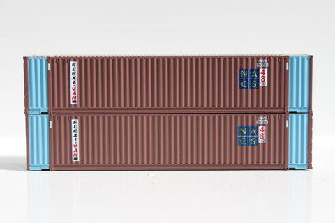GENSTAR 48' HC Flexi-Van NACS  3-42-3 corrugated containers with Magnetic system, FIRST TIME IN N SCALE. JTC # 485016